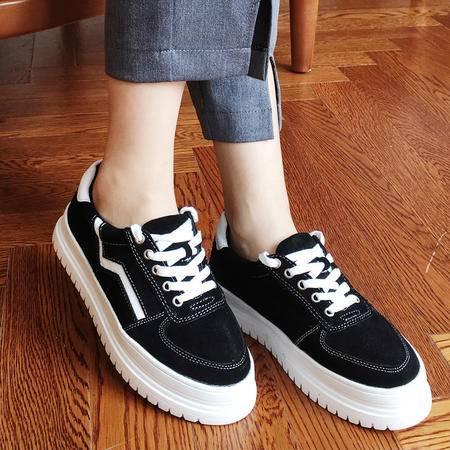 LORSVON磨砂牛皮休闲女球鞋时尚百搭平板鞋明星同款运动鞋舒适软底
