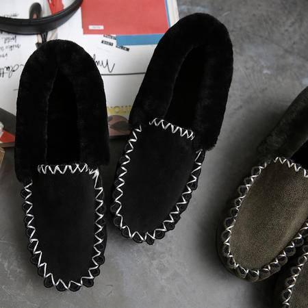 伦斯威尔LORSVON冬季保暖加厚真皮女棉鞋皮毛一体豆豆鞋套脚平底棉单鞋家居妈妈鞋