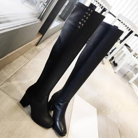 伦斯威尔秋冬黑色过膝女长靴高跟粗跟长筒靴内里加绒保暖靴欧美范瘦腿百搭