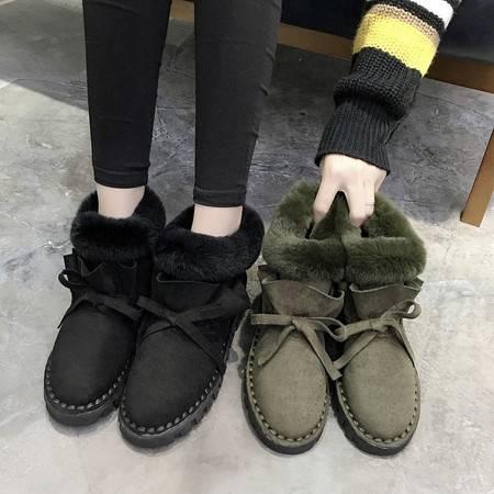 2016新款兔毛翻边保暖加绒棉鞋甜美花边毛毛鞋平底雪地靴女短靴舒适软底