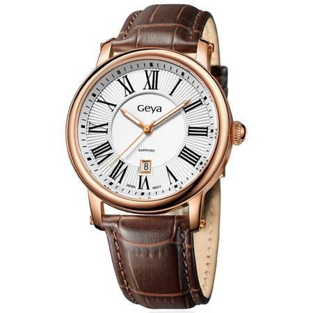 格雅(Geya)手表 复古时尚男表夜光日历腕表G06168