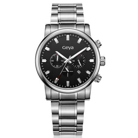 格雅(Geya)手表 驰系列多功能石英男表黑色G05008