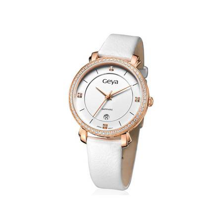 格雅(Geya)手表 时尚潮流白色真皮水钻女表G06173