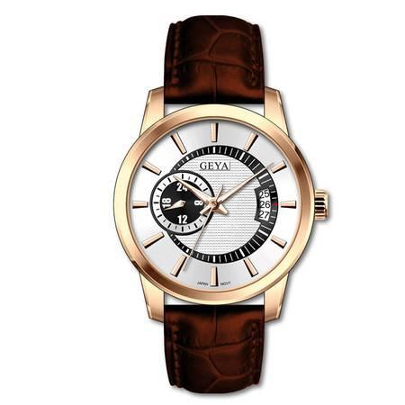 格雅(Geya)手表 真皮夜光日历时尚男表全自动机械表8109