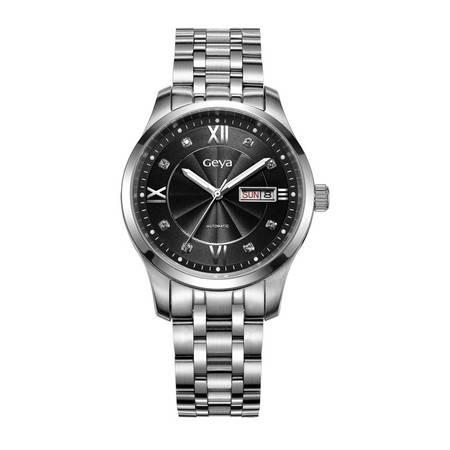 格雅(Geya)手表 机械防水男 钢带商务时尚男士腕表78002