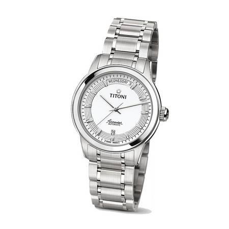 梅花 手表(Titoni)空霸机械手表 钢带男表93933 S-366 [白色]