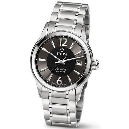 梅花 手表 (TITONI) 空霸系列自动机械手表钢带男表 83933S-324