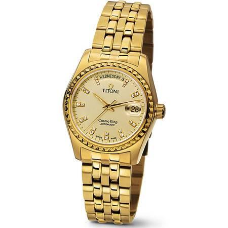 梅花 手表 (TITONI) 宇宙自动机械手表 镀金商务男表 787G-306