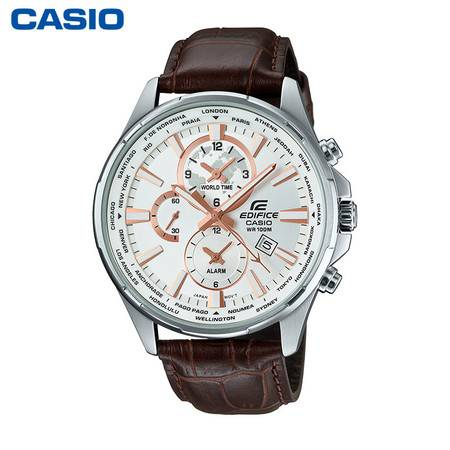 卡西欧/CASIO男士真皮指针腕表皮带石英表EFR-532L-7A