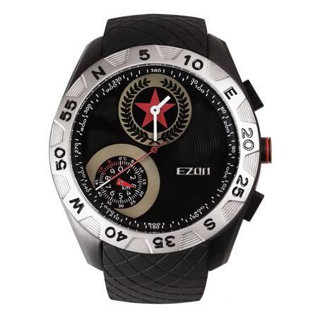 EZON宜准户外登山手表男防水运动军表高度温度指南针石英表H607