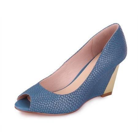 【邮掌柜特惠】达芙妮正品 新款 鱼嘴高跟 金属坡跟 头层羊皮单鞋女