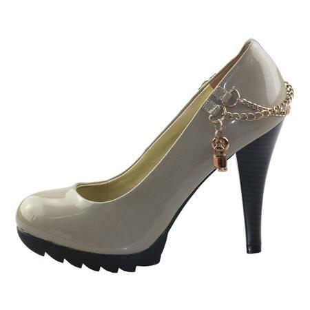 【邮乐特卖】达芙妮旗下鞋柜单鞋圆头高跟细跟防水台链子女鞋