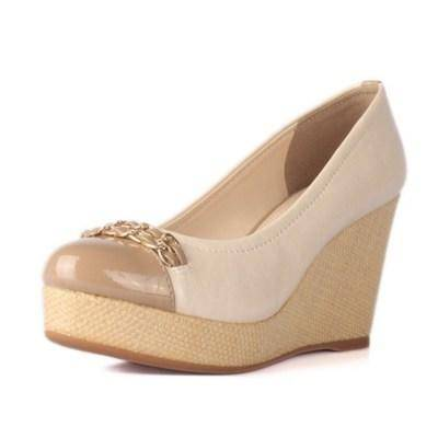 【邮乐特卖】达芙妮春秋款浅口甜美圆头坡跟单鞋松糕厚底高跟女鞋
