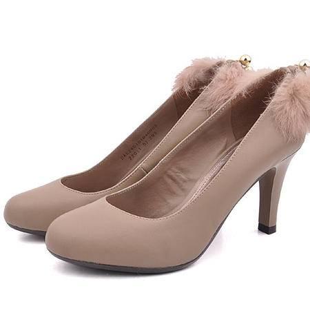 【邮乐特卖】达芙妮专柜女浅口珠子兔毛皮春秋单鞋