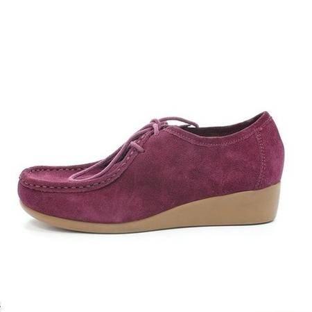 达芙妮正品13秋冬女款系带深口真皮内增高舒适单鞋女