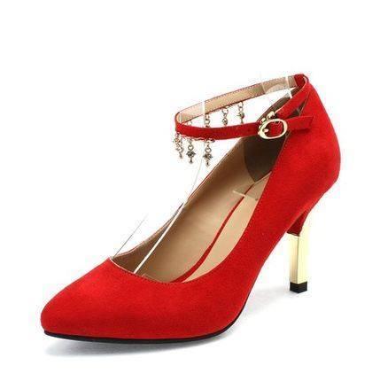 【邮乐特卖】达芙妮秋新款金属色细跟水钻坠饰尖头低帮婚鞋单鞋女包邮
