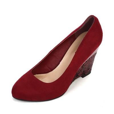 【邮乐特卖】达芙妮春秋季浅口圆头女鞋拼接亮片坡跟女单鞋