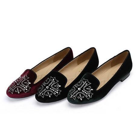 达芙妮正品单鞋秋季亮片花朵图案粗跟浅口低跟妈妈鞋