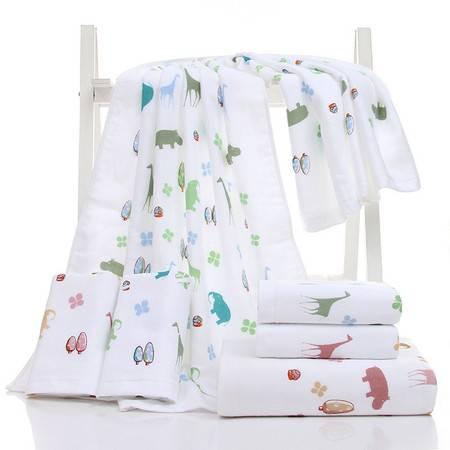 正典品牌无捻纯棉超柔可爱超吸水纱布浴巾动物儿童洗澡浴巾 1条
