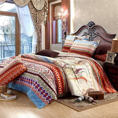 唯眠纺家纺 四件套 全棉斜纹床上用品 纯棉床单套件 1.5/1.8米床适用 巴洛克