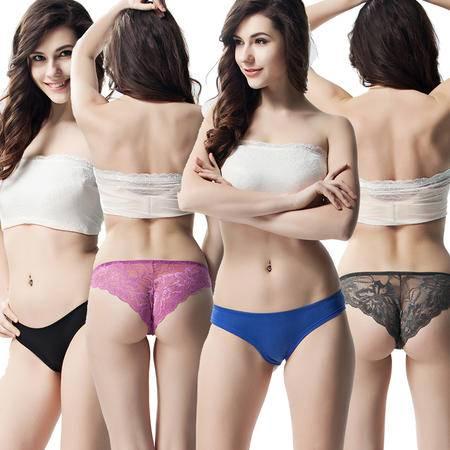 Bejirog/北极绒4条女士内裤蕾丝低腰性感内裤透明诱惑提臀三角裤