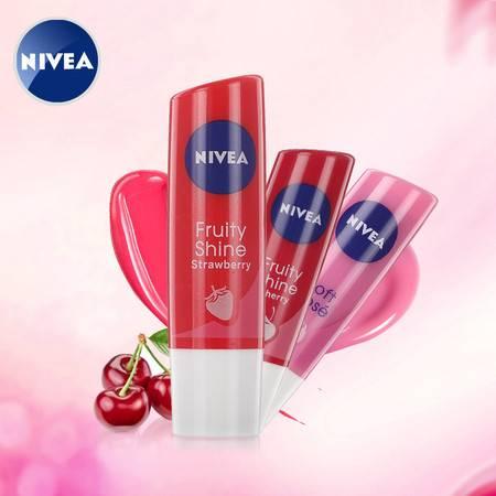 包邮 专柜正品妮维雅好气色润唇膏 滋润保湿抗干裂防干燥唇护理 4.8g 草莓樱桃玫瑰红