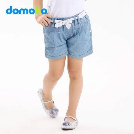 大拇哥童装 夏装新款女童牛仔短裤 女童中大童纯棉短裤休闲百搭