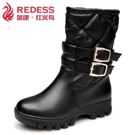奥康红火鸟女鞋 欧美双排皮带扣马丁靴中筒靴平底保暖女靴子短靴潮流