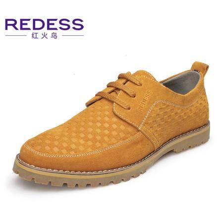 奥康红火鸟 春季男士休闲鞋真皮鞋子英伦反绒工装鞋透气低帮单鞋