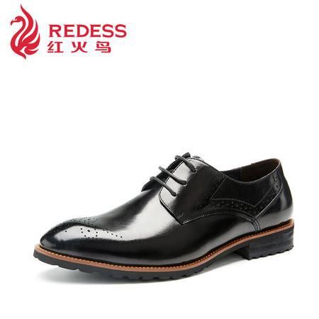 Redess/红火鸟奥康男士真皮秋季单鞋布洛克商务休闲皮鞋头层牛皮