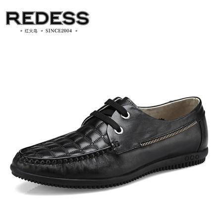 红火鸟男鞋 新款男士休闲鞋子真皮豆豆鞋男潮英伦流行低帮鞋单鞋