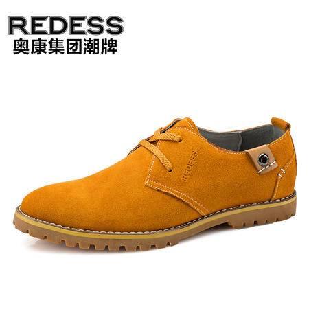 奥康红火鸟 男士休闲皮鞋 英伦潮流真皮工装鞋舒适低帮鞋子男单鞋