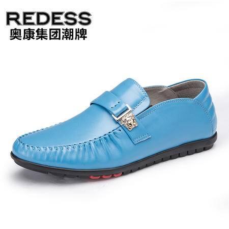 红火鸟 男士商务休闲皮鞋男英伦流行透气真皮豆豆鞋套脚懒人鞋潮