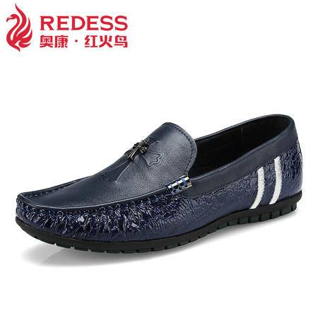 奥康红火鸟 真皮豆豆鞋男新款男士休闲皮鞋舒适透气套脚懒人鞋子
