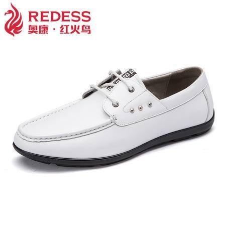 红火鸟 春季新款男鞋英伦商务皮鞋时尚男士休闲鞋真皮透气潮单鞋