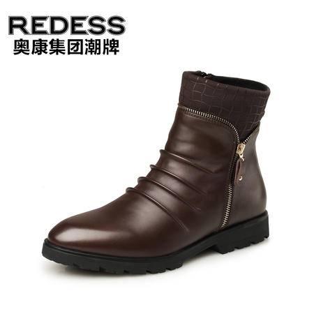 奥康红火鸟 冬季加绒男鞋保暖男士棉鞋英伦真皮休闲鞋子马丁靴男