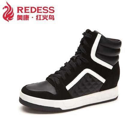 Redess/奥康红火鸟新款韩版时尚休闲女鞋 中跟内增高系带运动鞋