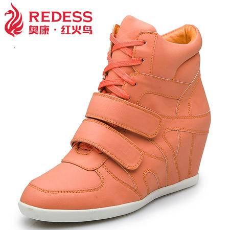 红火鸟 春季新款橡胶底不累脚 奥康内增高跟潮流女鞋运动休闲鞋潮