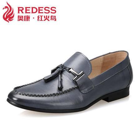 奥康红火鸟 男士皮鞋真皮商务休闲男鞋 春季英伦潮套脚单鞋子婚鞋