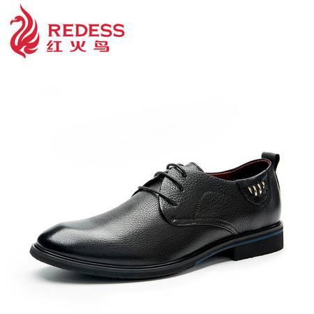 Redess/红火鸟奥康新款秋季男士正装商务皮鞋真皮系带单鞋头层皮