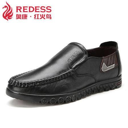 奥康红火鸟 新款真皮鞋子男士休闲鞋 英伦透气懒人套脚男鞋爸爸鞋