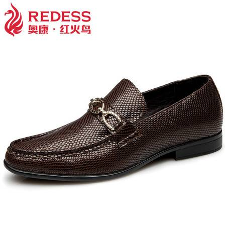 奥康红火鸟欧美时尚蜥蜴纹牛皮休闲男鞋真皮商务皮鞋专柜同款包邮