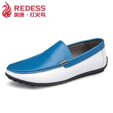 红火鸟 春季日常男士休闲鞋韩版潮真皮豆豆鞋男舒适透气套脚鞋子