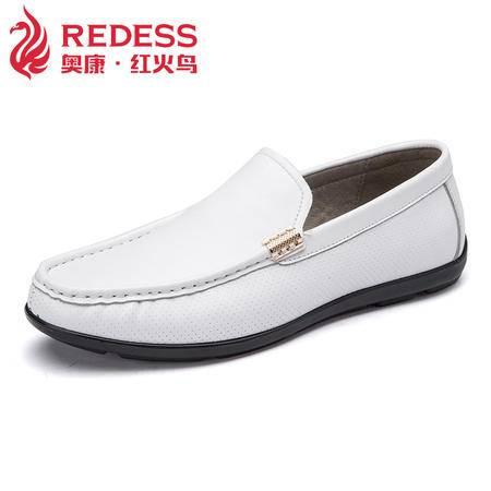 红火鸟 英伦真皮豆豆鞋商务皮鞋春季男士休闲鞋透气套脚懒人鞋子