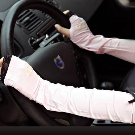 【江西农商】夏季开车防晒手套防紫外线蕾丝遮阳护套必备黑色粉色