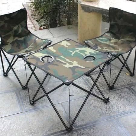 【江西农商】汽车用品 自驾户外便携背包式折叠桌椅 野餐钓鱼椅迷彩3件套套装