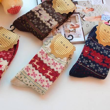 汉宝 冬季爆款可爱兔羊毛女袜加厚保暖金丝鹿棉袜中筒袜子三双
