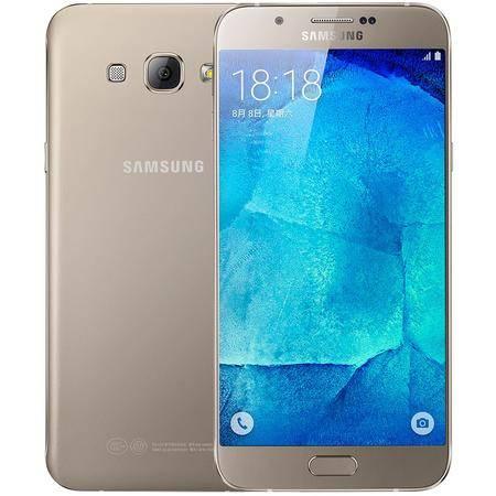 三星 Galaxy A8(A8000) 全网通 移动联通电信4G手机 金色 32G 套装送钢化膜