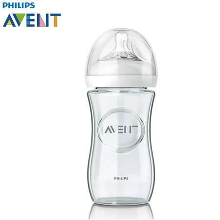 飞利浦新安怡宽口径自然原生玻璃奶瓶240毫升单个装SCF673/17
