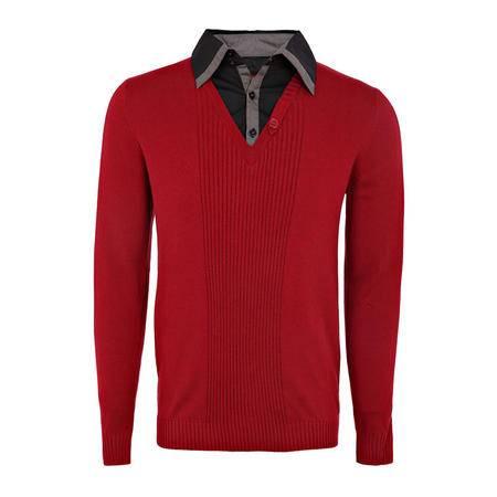 LaRedoute 男式 全棉 针织衬衫 翻领 套衫 OA546